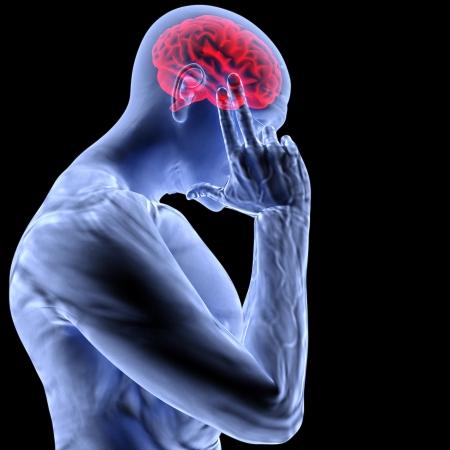 nerveux: un homme avec un mal de t�te sous x-ray.