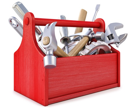 building tool: wooden toolbox with tools. isolated on white. Stock Photo