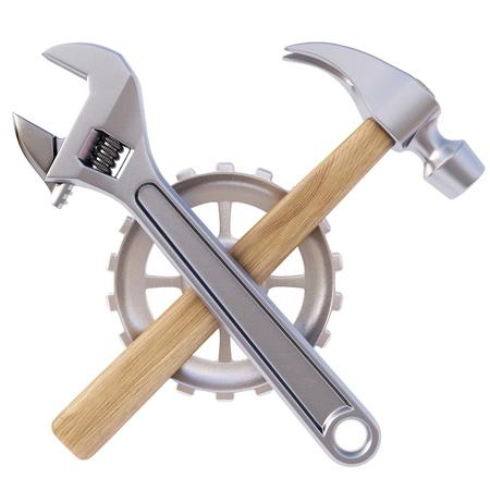 the hammer: icono de las herramientas. Aislado en blanco.