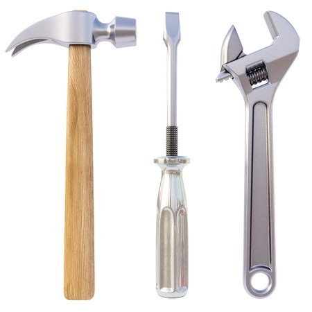 hammer, screwdriver, wrench. Isolated on white. photo