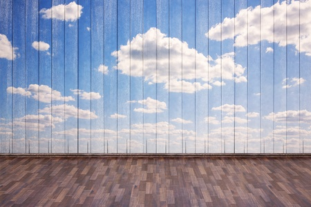 empty interior with wooden parquet and sky painted on the wall. Stock Photo - 13830395