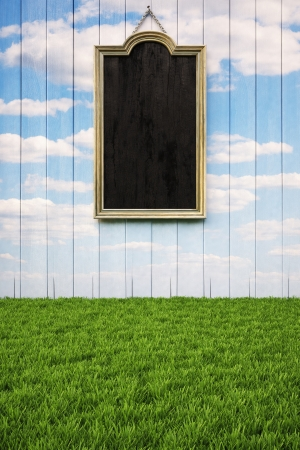 menu land: empty interior with floor from the green grass and empty picture frames on the wall. Stock Photo