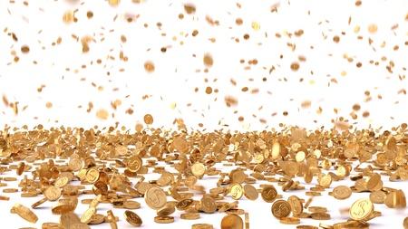 cash money: la lluvia de las monedas de oro. aislado en blanco.