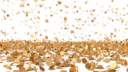 stack of coins: rain from the golden coins. isolated on white. Stock Photo