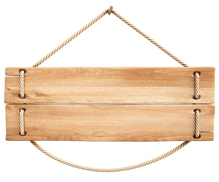 wooden plaque: blank wooden sign hanging on a rope. isolated on white. Stock Photo