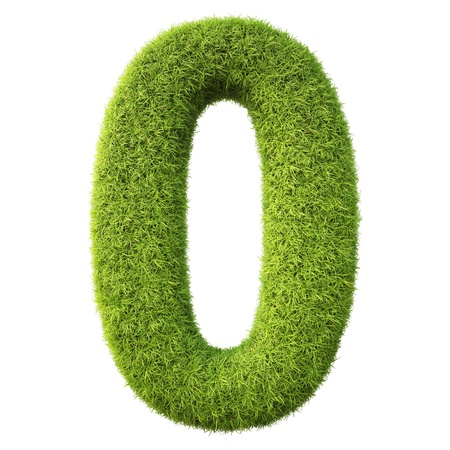 numbers from the green grass. isolated on white. photo
