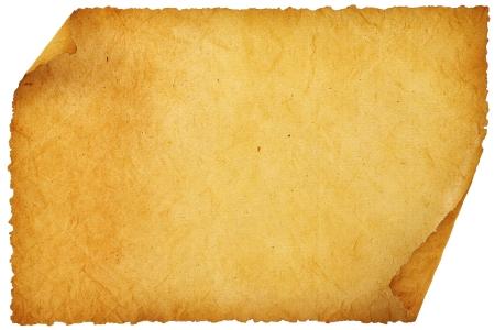 paper curl: s�bana vieja de papel en blanco con los bordes redondeados. Foto de archivo