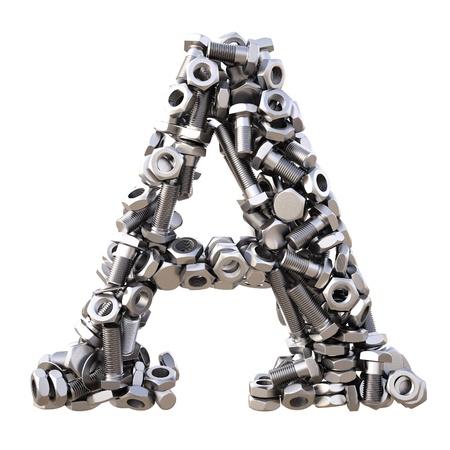 tuercas y tornillos: Alfabeto de tuercas y tornillos. aislado en blanco.