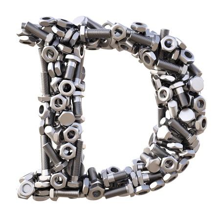 pernos: Alfabeto de tuercas y tornillos. aislado en blanco.