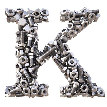 Alphabet aus Schrauben und Muttern. isoliert auf weiß. Standard-Bild - 14563407