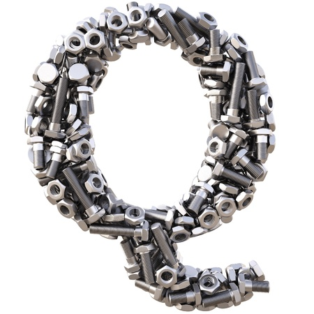 Alphabet from nuts and bolts. isolated on white. photo