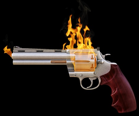 revolver in the fire. isolated on black Stock Photo - 14840124