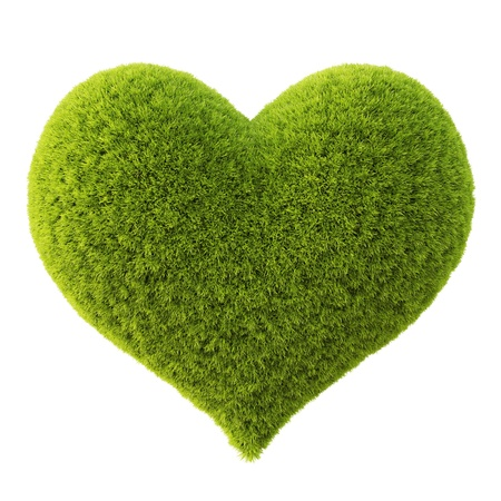 love image: Green grass heart. Isolated on white.
