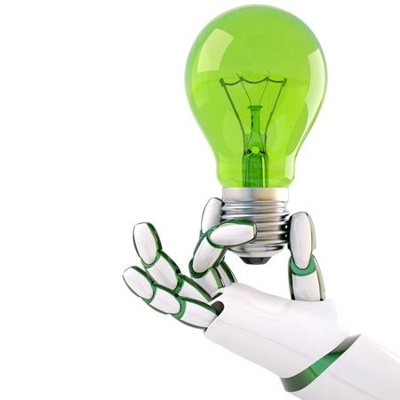 mano robotica: bombilla de luz verde en la mano del robot. Aislado en blanco. Foto de archivo
