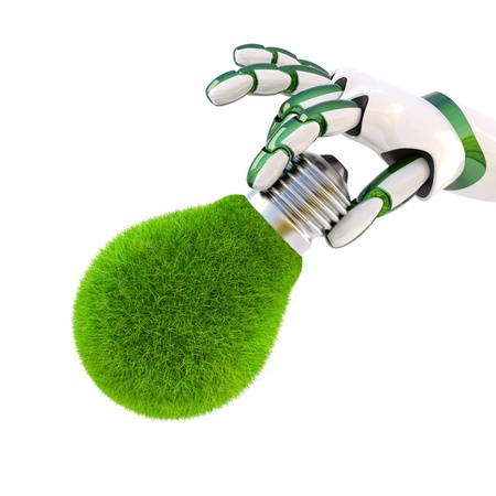 green light bulb in the hand of the robot. Isolated on white. photo