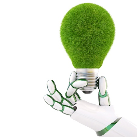 symbol robot: green light bulb in the hand of the robot. Isolated on white.