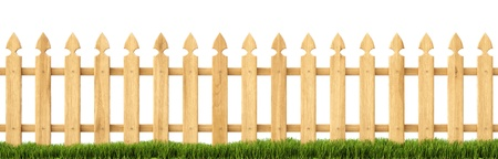 boundaries: wooden fence in the grass. Isolated on white.