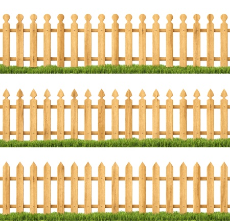 set of wooden fences with grass. Isolated on white. photo