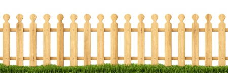palisade: wooden fence in the grass. Isolated on white.