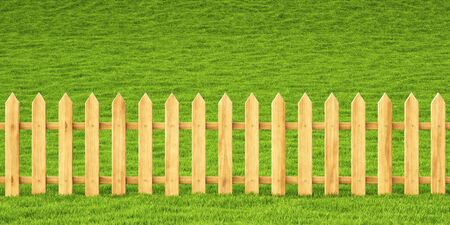wooden fence in the grass. Stock Photo - 14935287