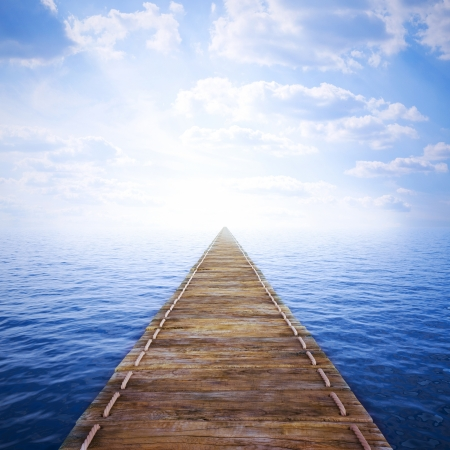 bridge over water: long wooden jetty over sea. 3d image. Stock Photo