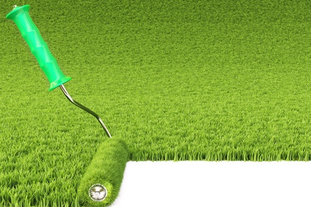 spring roll: roller draws the field from the green grass.