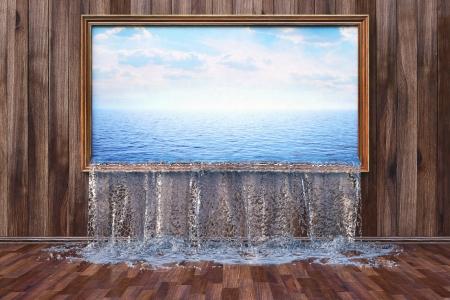 Interieur met houten wand en vloer. Het water wordt gegoten in het interieur door middel van de foto aan de muur.