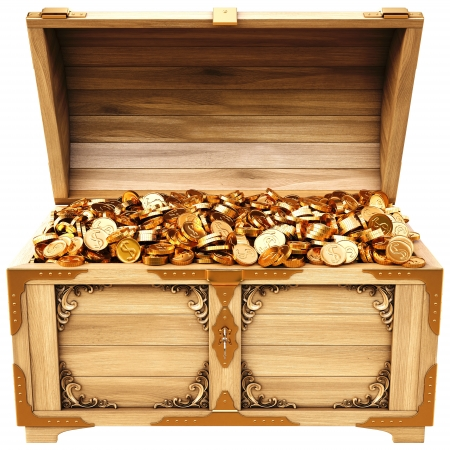 coffer: old wooden chest with gold coins. isolated on a white background.