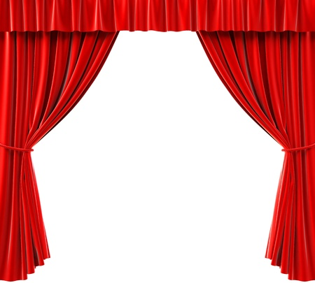 performing: red curtains on a white background