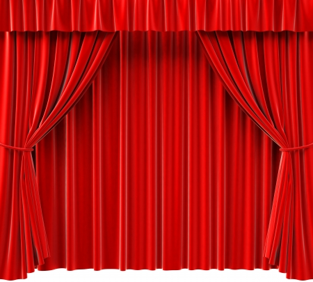 awards ceremony: red theatrical curtain. 3d image.