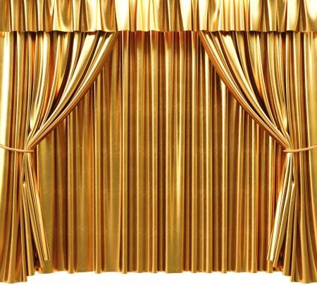 sipario chiuso: oro tenda teatrale. Immagine 3D.