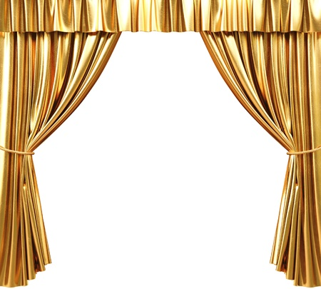 theater auditorium: golden theatrical curtain. 3d image.