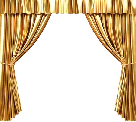 gouden theatrale gordijn. 3d beeld.