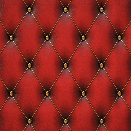 luxurious red leather with gold buttons. Stock Photo - 15362501
