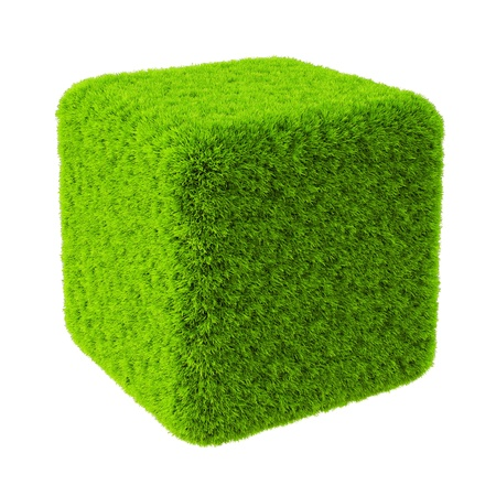 Green grass cube. Isolated on white. photo