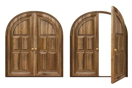 open and closed wooden doors. isolated on white. Stock Photo