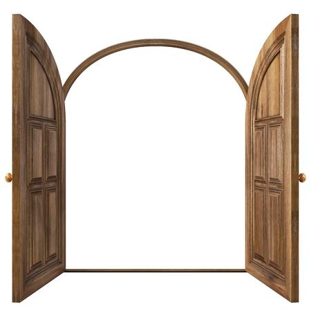 豪華なクラシックのドア。白で隔離されます。
