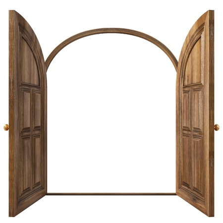 Luxury classic doors. Isolated on white.