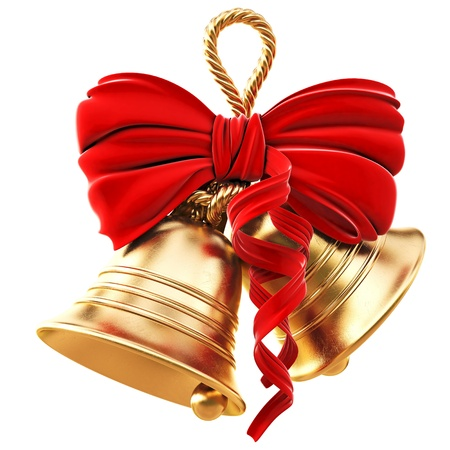 christmas decorations with white background: golden bells with a red bow. isolated on white.
