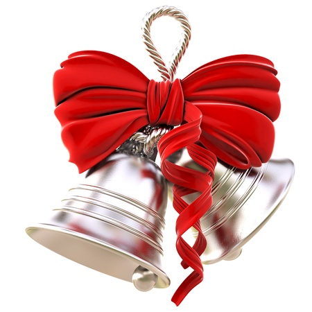 ribbons hang: silver bells with a red bow. isolated on white.