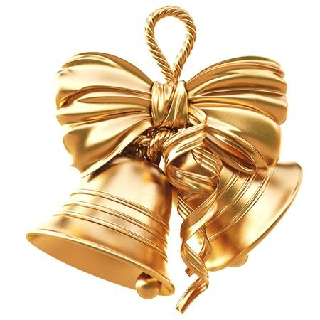 campanas de navidad: campanas de oro y un arco. aislados en blanco. Foto de archivo