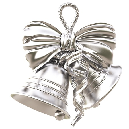 silver ribbon: silver bells and bow. isolated on white.