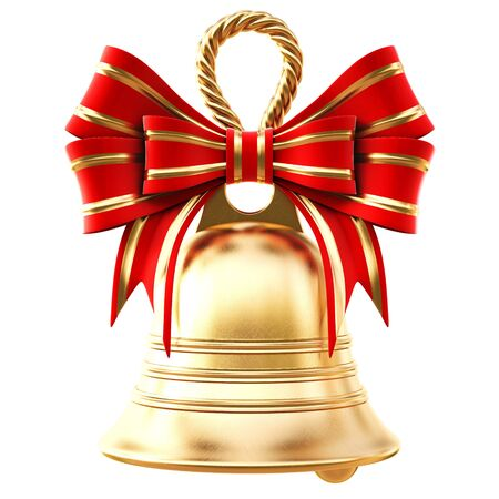 christmas bell: golden bells with a red bow. isolated on white.