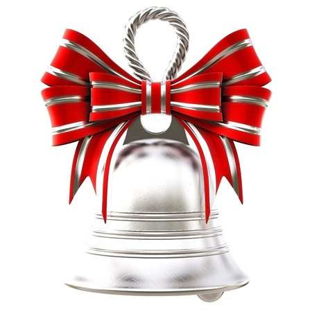 silver bells: silver bells with a red bow. isolated on white.