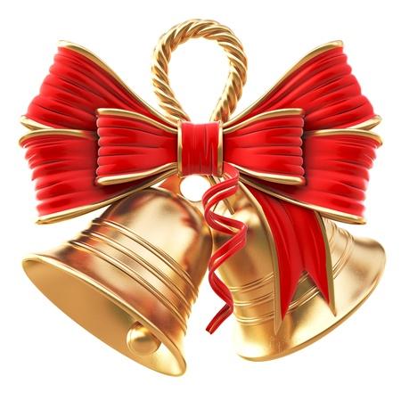 campanas de navidad: campanas de oro con un lazo rojo. aislados en blanco.