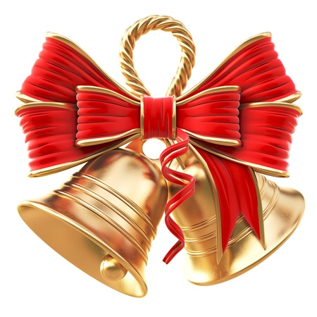 ringing: golden bells with a red bow. isolated on white.