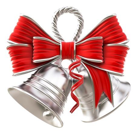 赤の弓で銀の鈴。白で隔離。 写真素材