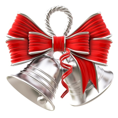 silver christmas: silver bells with a red bow. isolated on white.