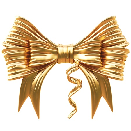 golden bow. isolated on white. Stock Photo