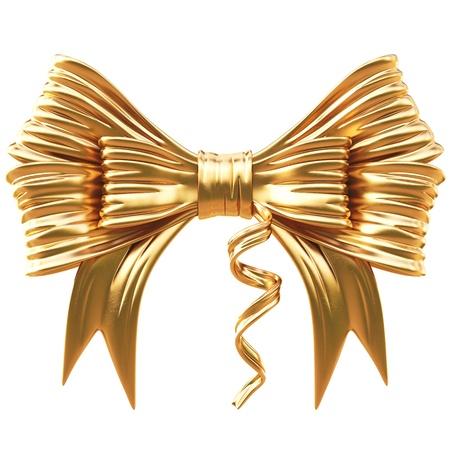 golden bow. isolated on white. Standard-Bild